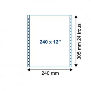 Listing 240 mm x 12 uni autocopiant 2 plis, 56/57g, bandes détachable.